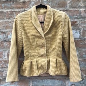 Vintage Corduroy Jacket Gold Peplum 50s Fitted